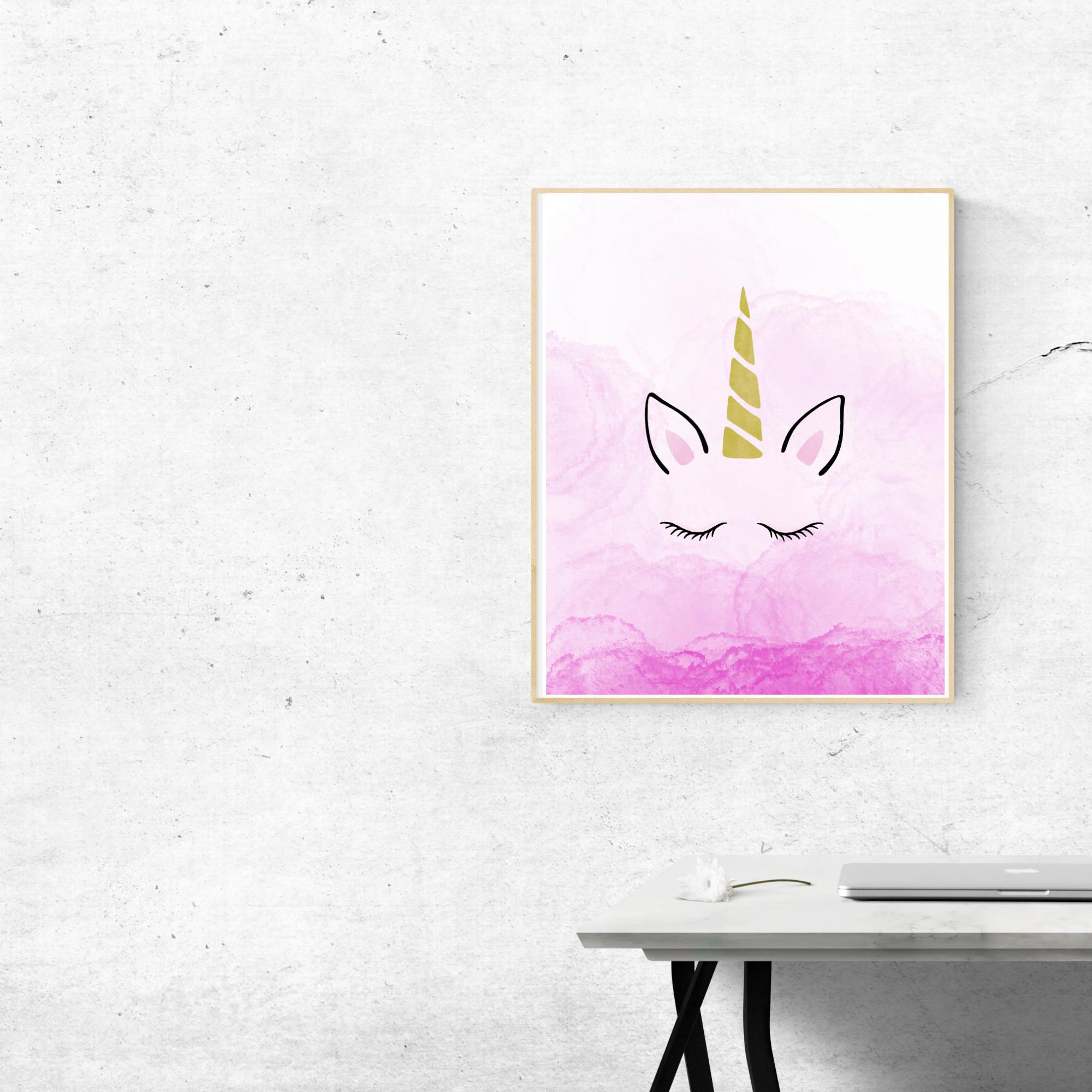 beautiful unicorn ombre pink print